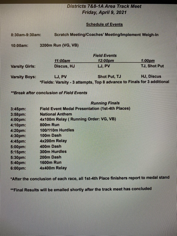 meet schedule area