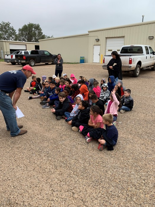 Elementary getting fire prevention training from the Meadow VFD.