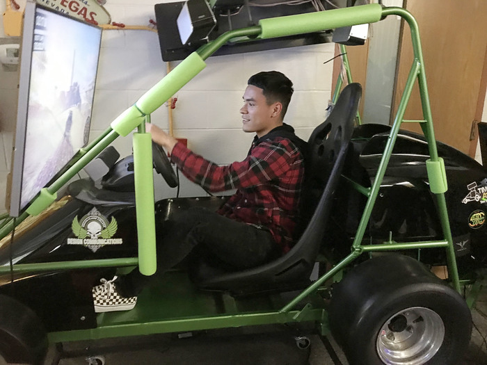 SPC student created dune buggy video driving game was one of Jordan's favorite.
