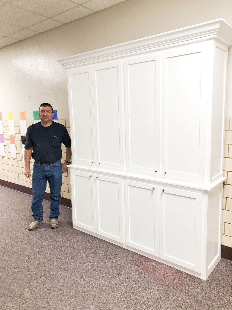 Steven Estrada built a wonderful cabinet store front!