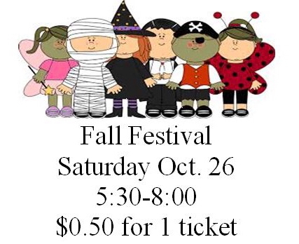 Fall festival Saturday from 5:30-8:00