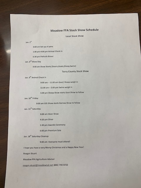 Meadow FFA Stock Show Schedule